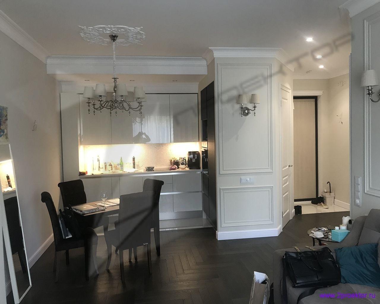 Вариант 1 переноса кухни в коридор с образованием дополнительной комнаты на месте бывшей кухни. Согласовано ООО «2ПРОЕКТОР».