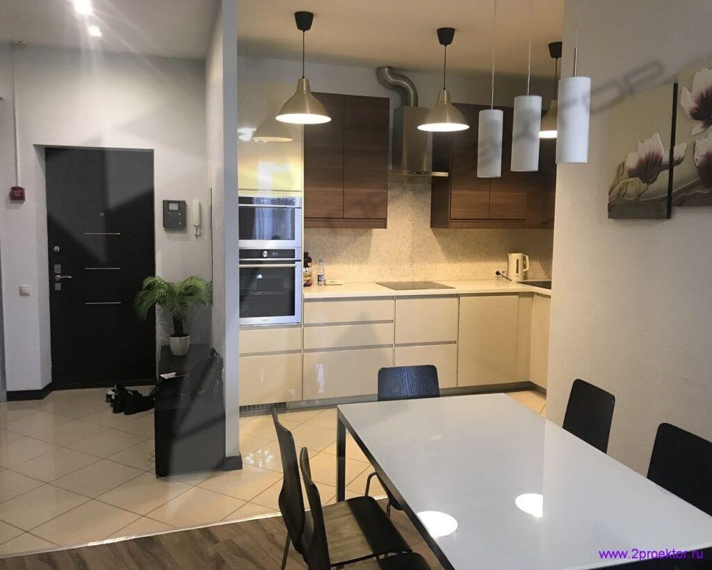 Вариант 2 переноса кухни в коридор с образованием дополнительной комнаты на месте бывшей кухни. Согласовано ООО «2ПРОЕКТОР».