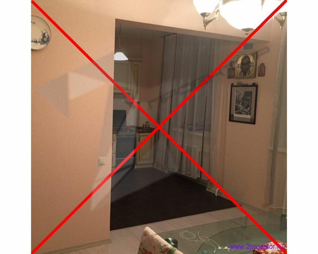 Объединение кухни с газовой плитой с гостиной делать запрещено