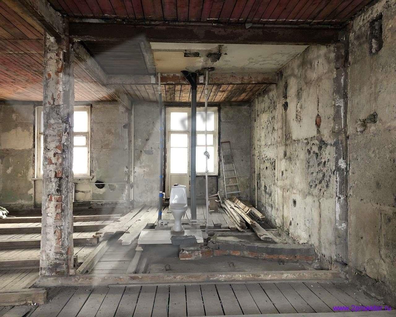 Квартира с деревянными перекрытиями после демонтажа.