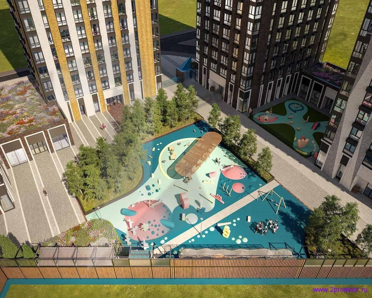Детская площадка в Жилом комплексе Метрополия вид сверху.