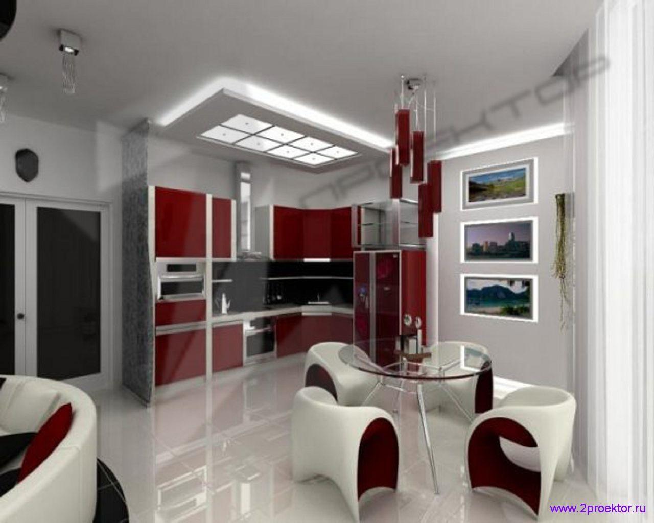 Яркий дизайн кухни-столовой в стихе хай-тек в Жилом комплексе Измайловский лес