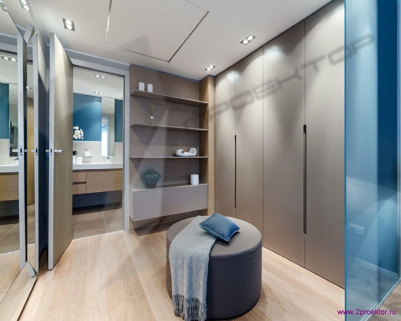 Дизайн гардеробной комнаты совмещенной с санузлом в Жилом комплексе Солнечный берег.