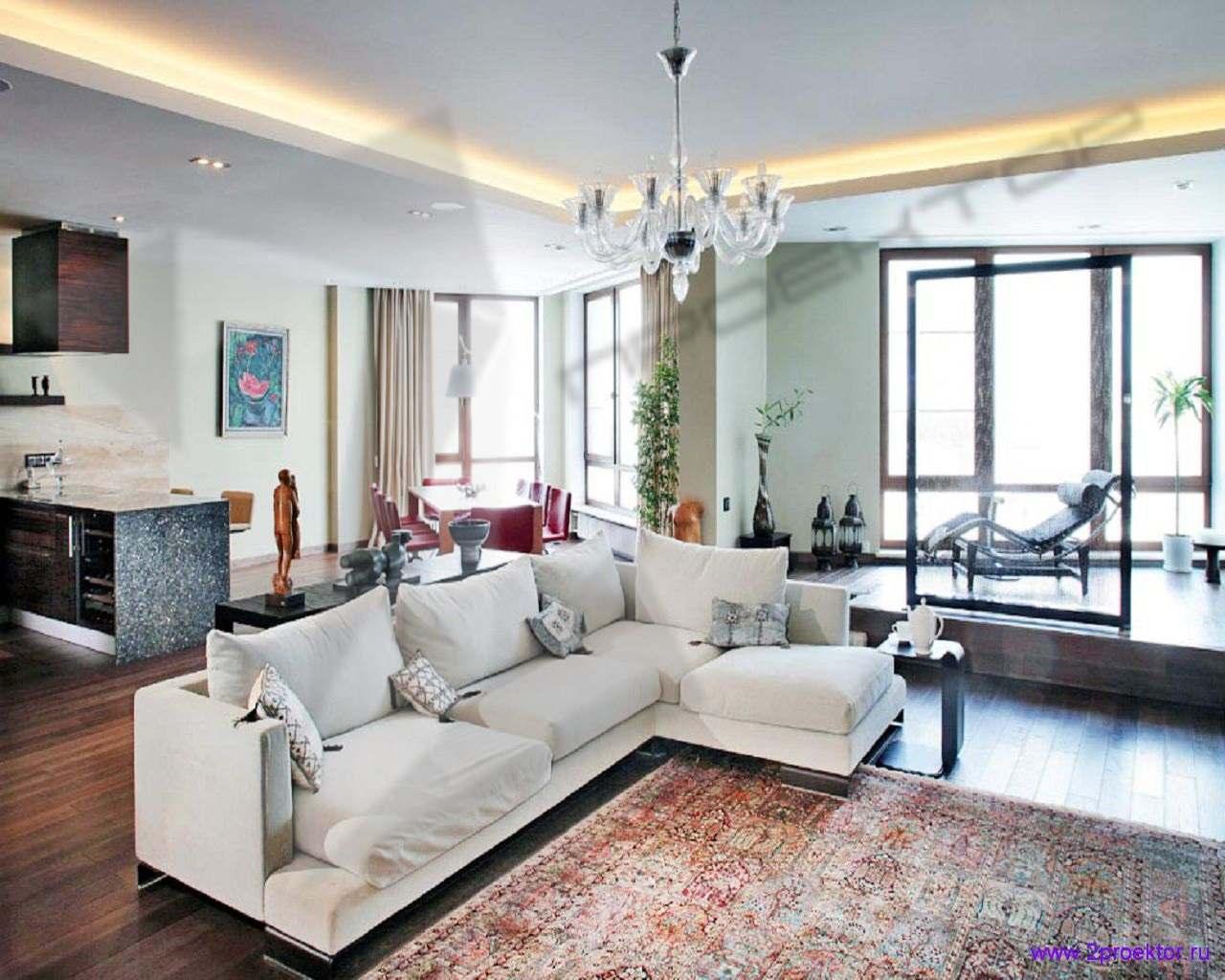 Стильный дизайн гостиной с панорамными окнами в Жилом комплексе Аэробус.