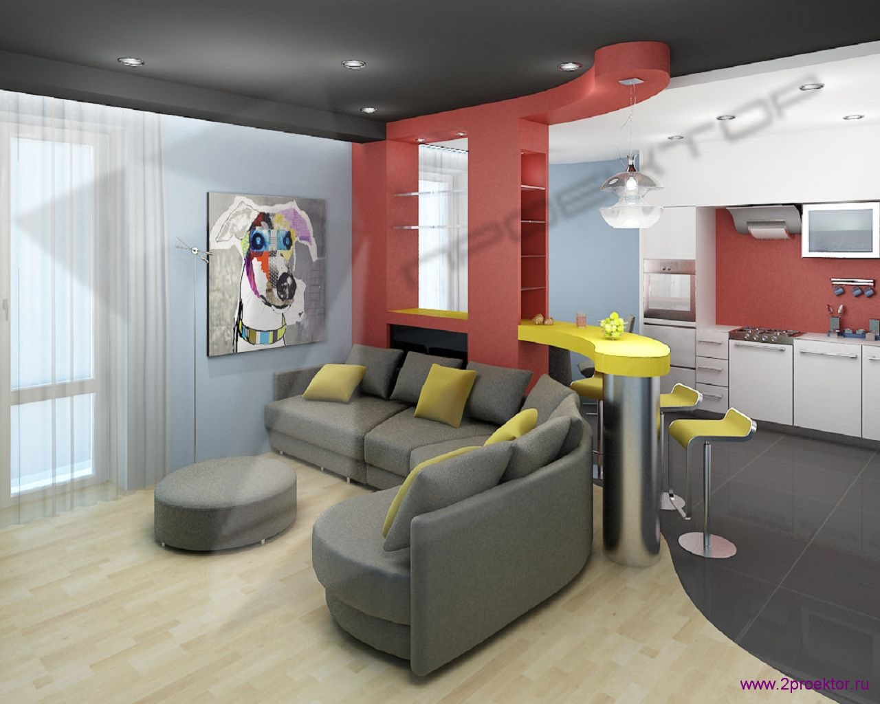 Яркий дизайн гостиной объединенной с кухней в Жилом комплексе Обыкновенное чудо.