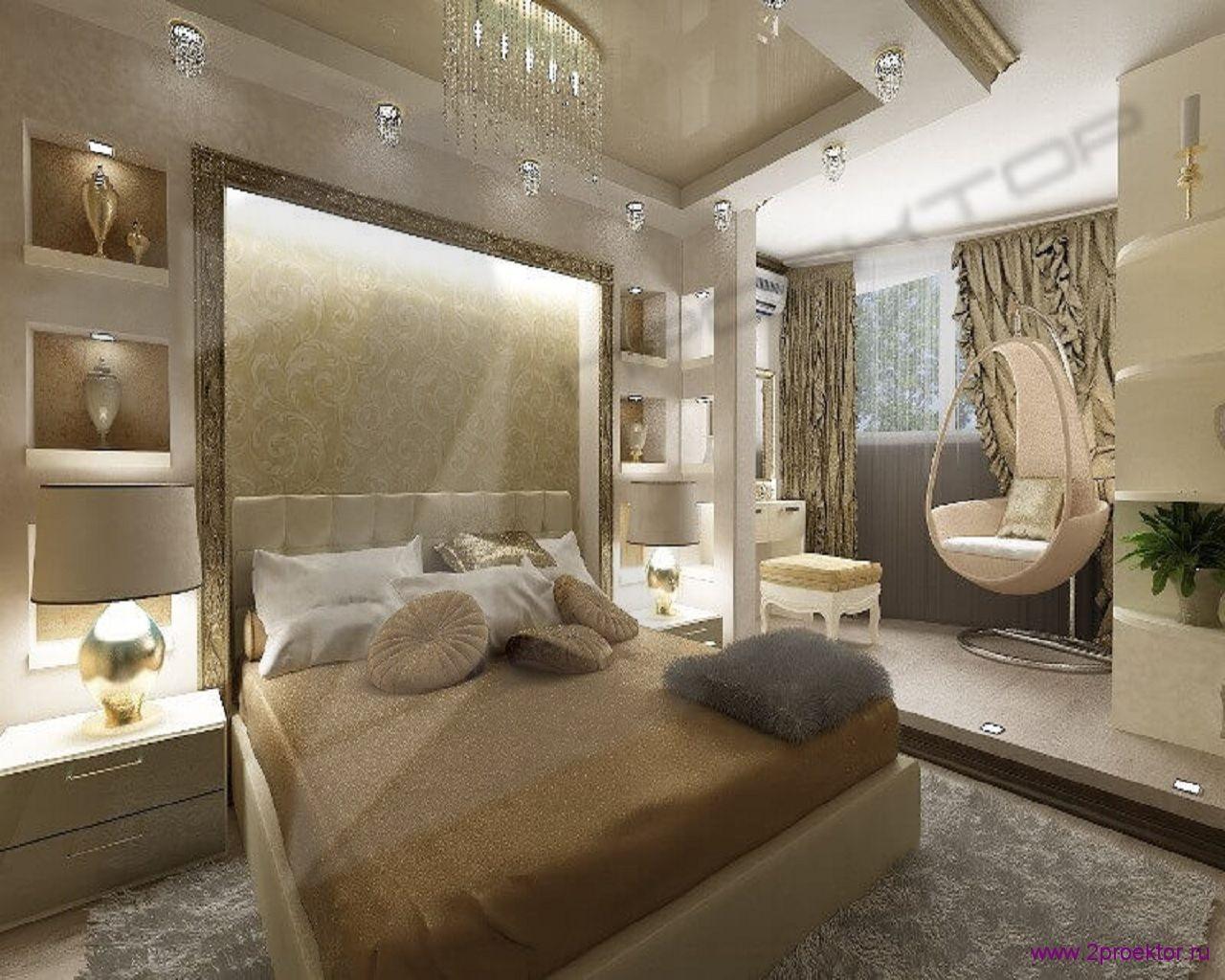 Дизайн уютной спальной комнаты совмещенной с санузлом в Жилом комплексе Четыре солнца.
