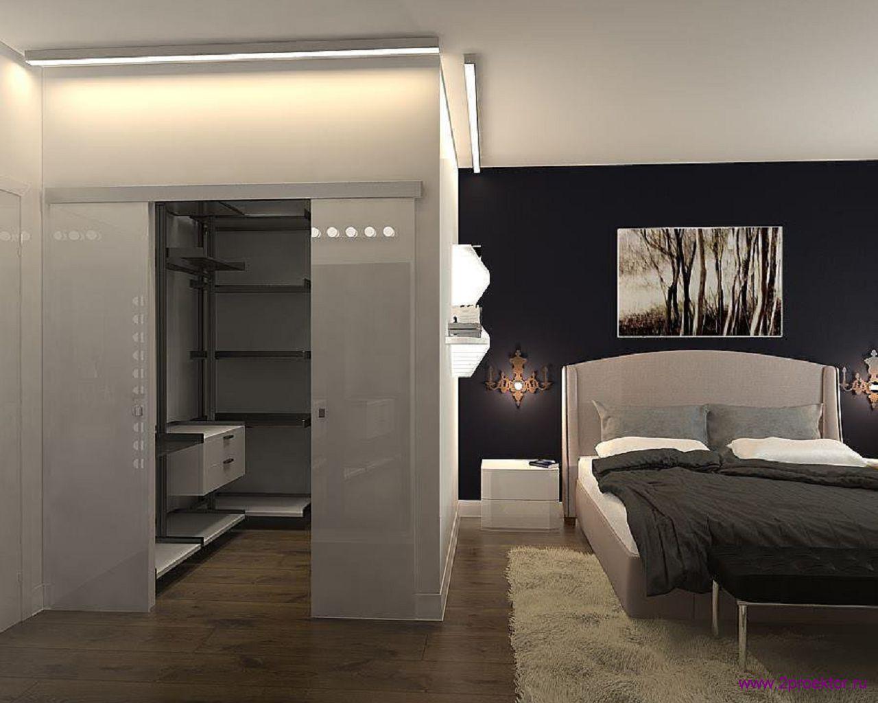 Дизайн спальни с гардеробной комнатой в Жилом комплексе Корона.