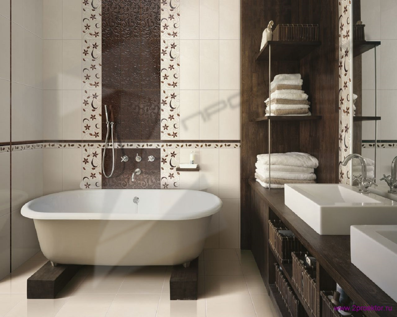Дизайн просторной ванной комнаты совмещенной с санузлом в Жилом комплексе Тихвинская усадьба.