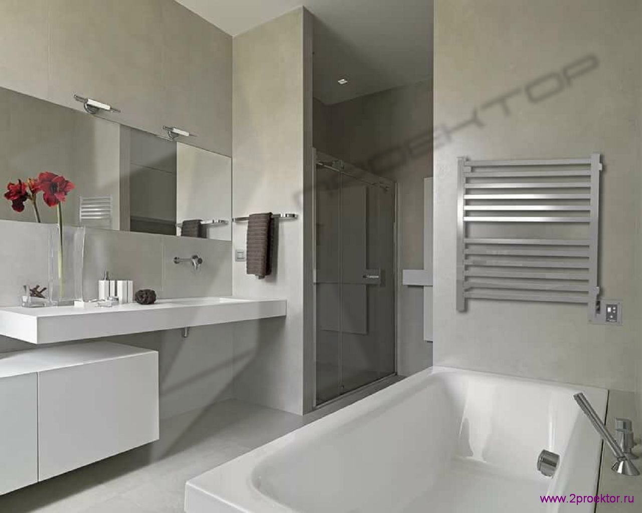 Дизайн ванной комнаты в светлых тонах в Жилом комплексе Шмитовский.