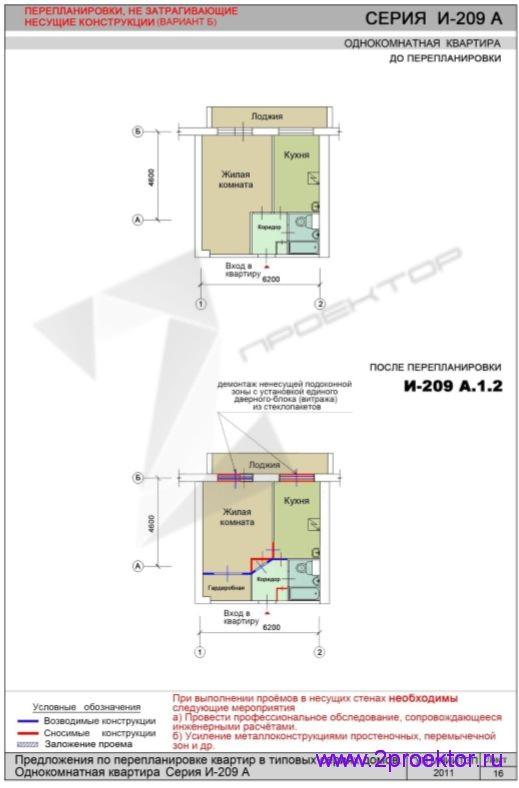 Перепланировка без изменений в несущих конструкциях дома серии И-209A (Вариант 2)