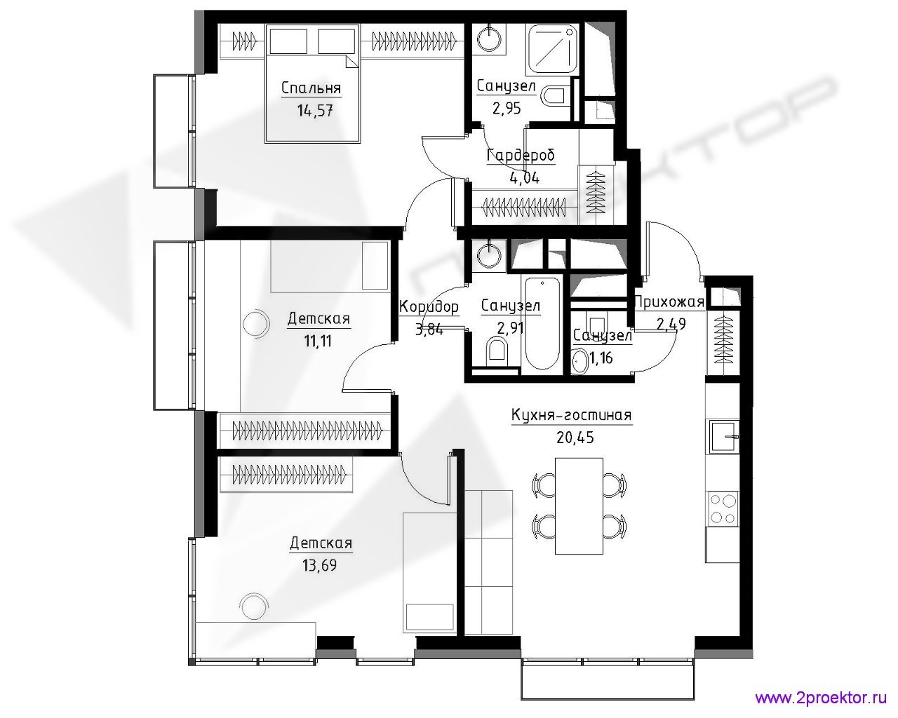 Типовой вариант планировки трехкомнатной квартиры в Жилом комплексе Метрополия.