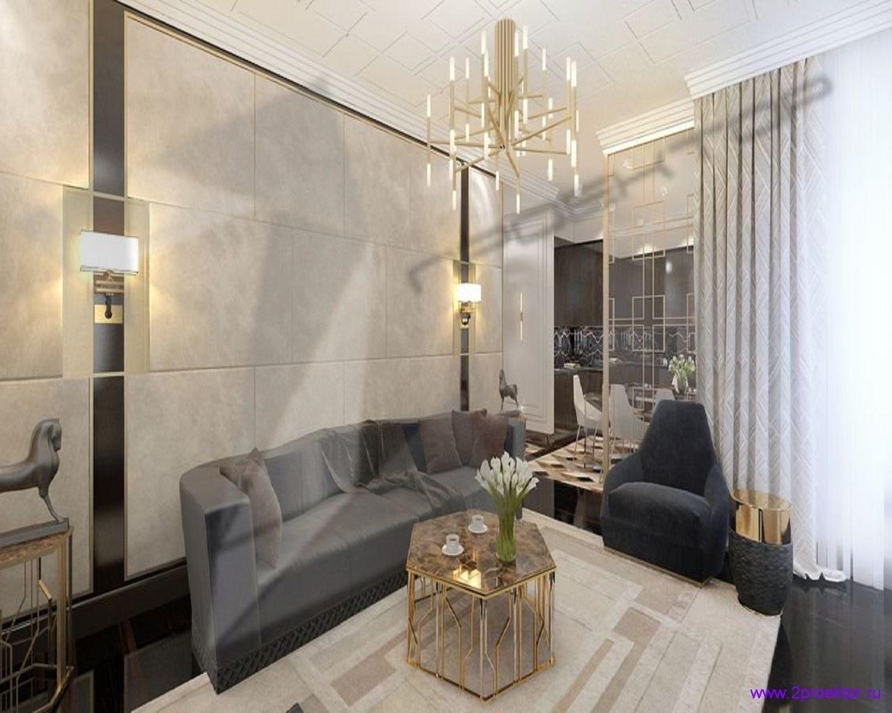 Современный дизайн гостиной в Жилом комплексе Долина Сетунь.