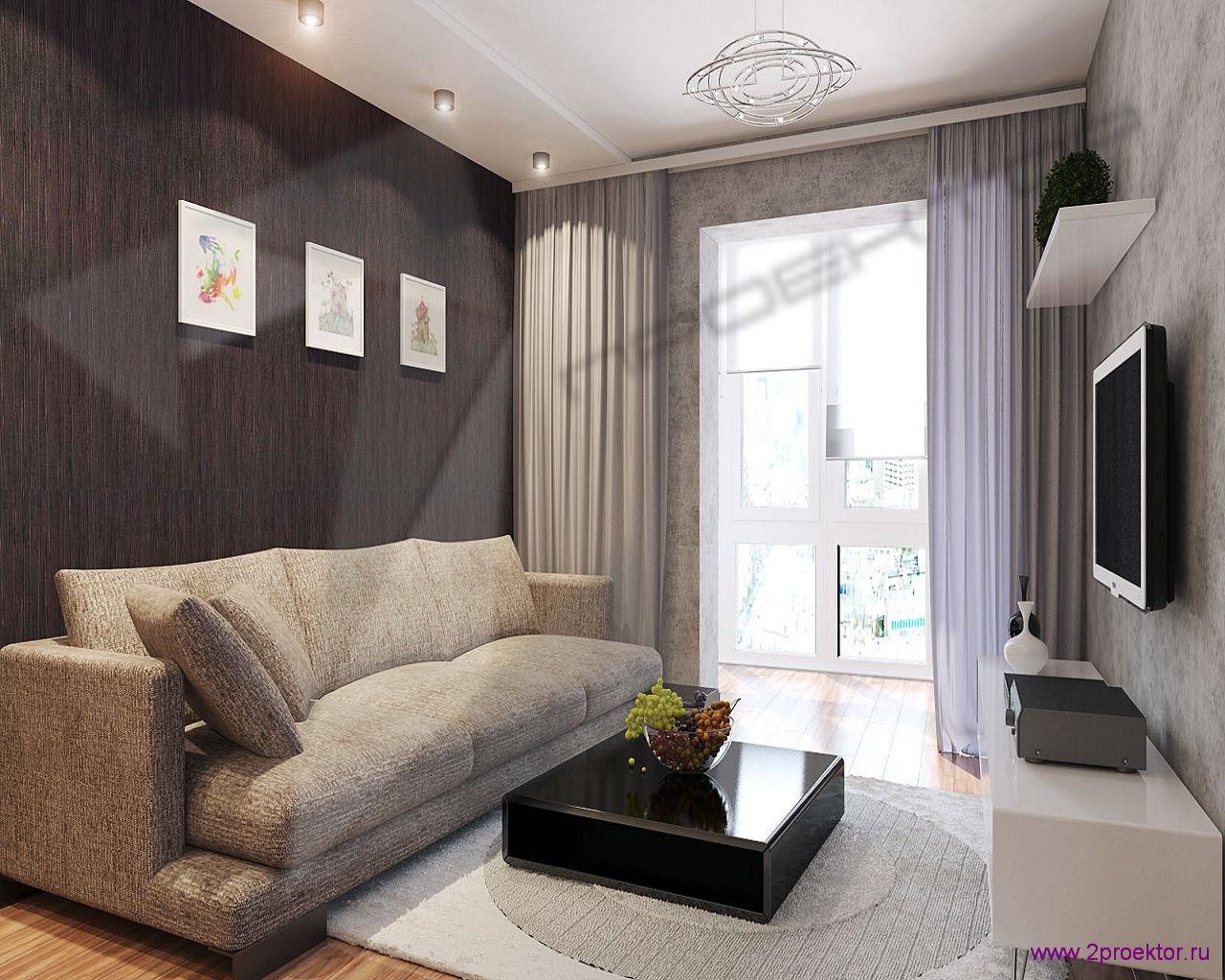 Дизайн большой гостиной в Жилом комплексе Юго-Западный.