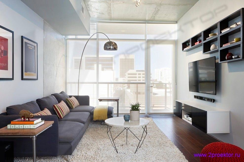 Современный интерьер гостиной в стиле хай-тек в Жилом комплексе «Discovery Park».