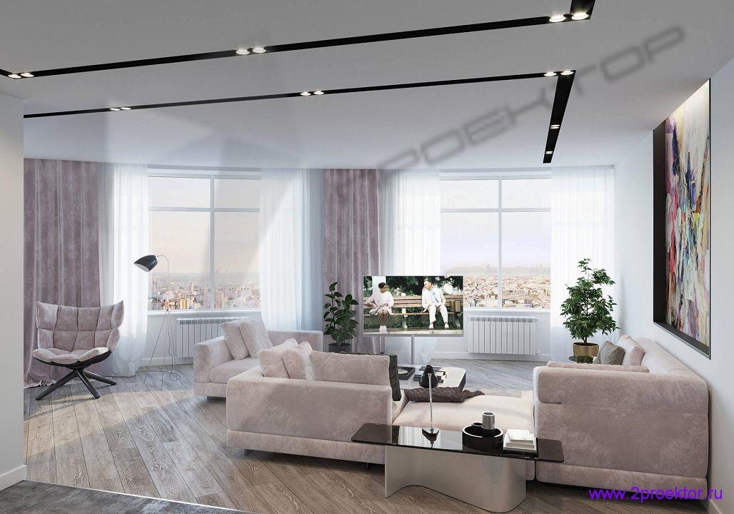 Интерьер гостиной в стиле модерн в жилом комплексе Триколор.