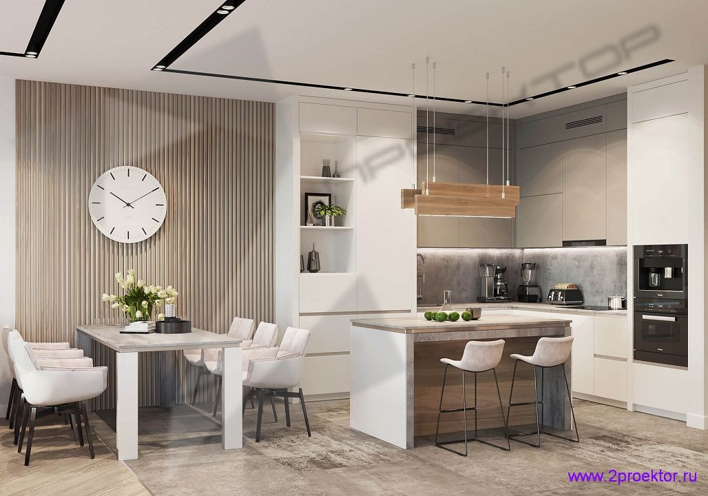 Современный интерьер кухни в жилом комплексе Триколор.