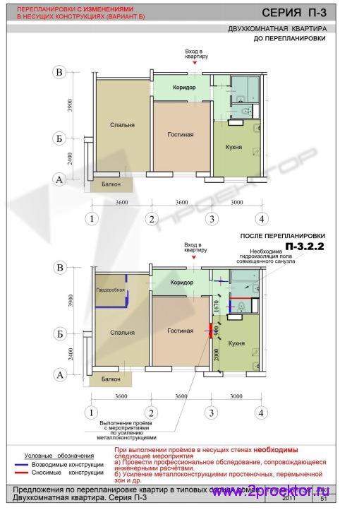Перепланировка с изменениями в несущих конструкциях с доме серии П-3 (Вариант 2)