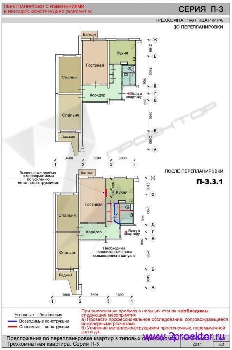 Перепланировка с изменениями в несущих конструкциях с доме серии П-3
