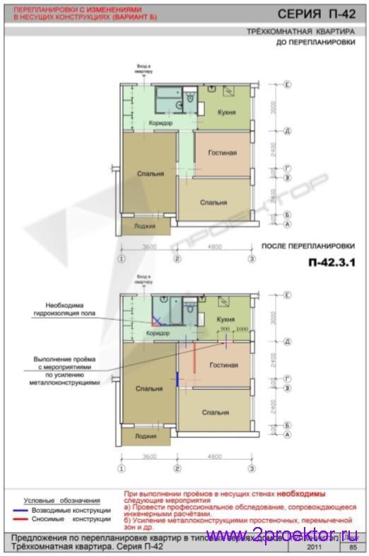 Перепланировка 3-х комнатной квартиры дома серии П-42