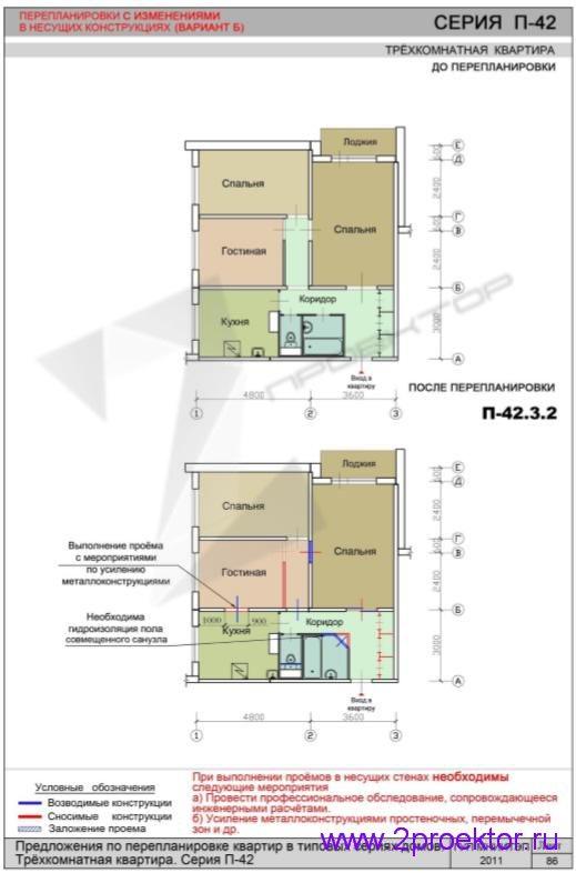 Перепланировка 3-х комнатной квартиры дома серии П-42 (Вар. 2)