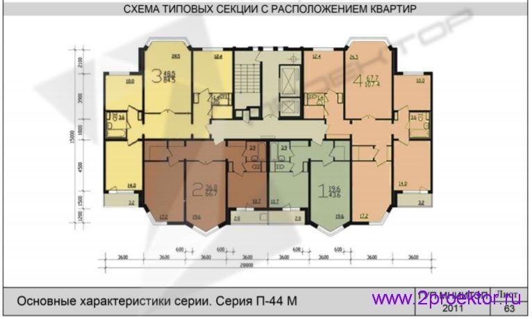 Схема типовой секции с расположением квартир жилого дома серии П-44М