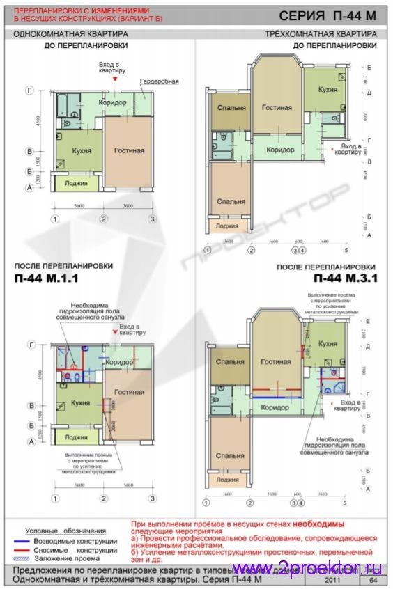 Перепланировка 1 и 3-х комнатной квартиры с изменениями в несущих конструкциях в доме серии П-44М