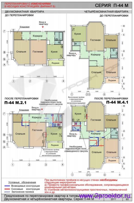 Перепланировка 2-х и 4-х комнатной квартиры с изменениями в несущих конструкциях в доме серии П-44М