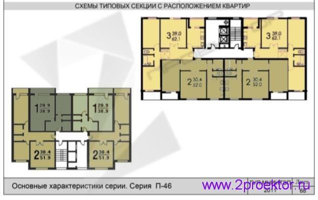 Схема типовой секции с расположением квартир жилого дома серии П-46