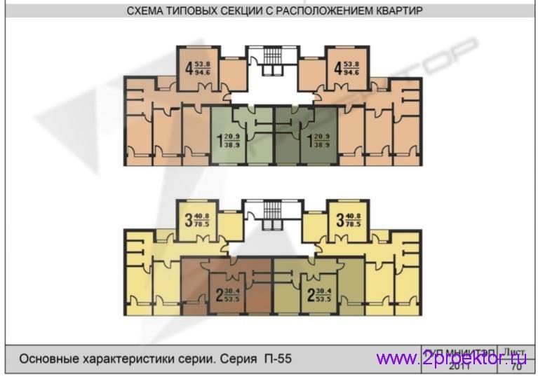 Схема типовой секции с расположением квартир жилого дома серии П-55