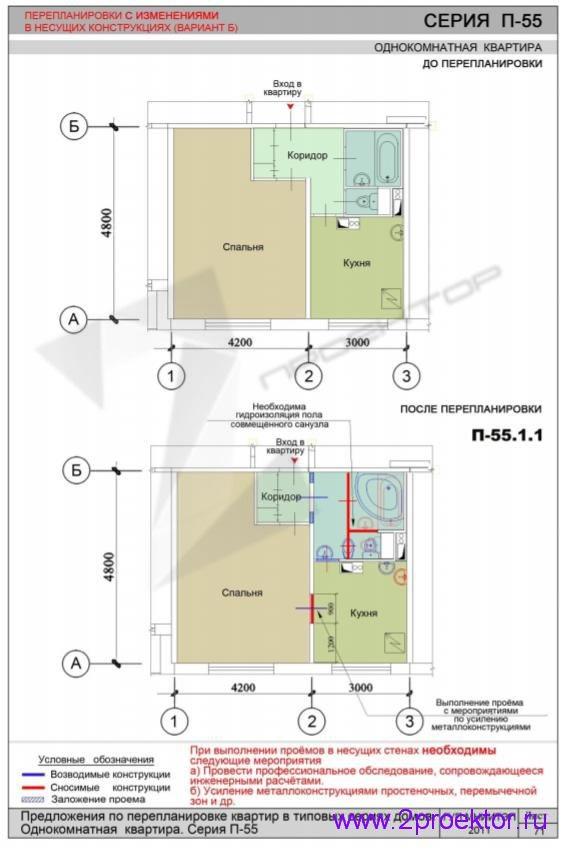 Перепланировка 1 комнатной квартиры дома серии П-55