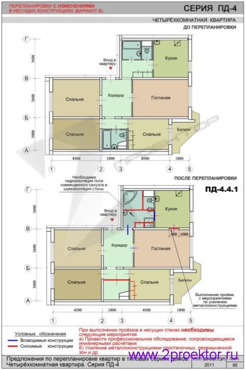 Перепланировка 4-х комнатной квартиры дома серии ПД-4
