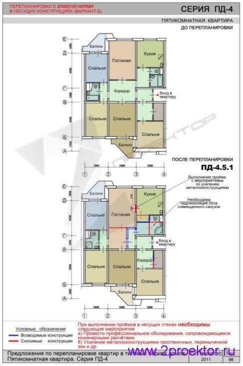Перепланировка 5-и комнатной квартиры дома серии ПД-4