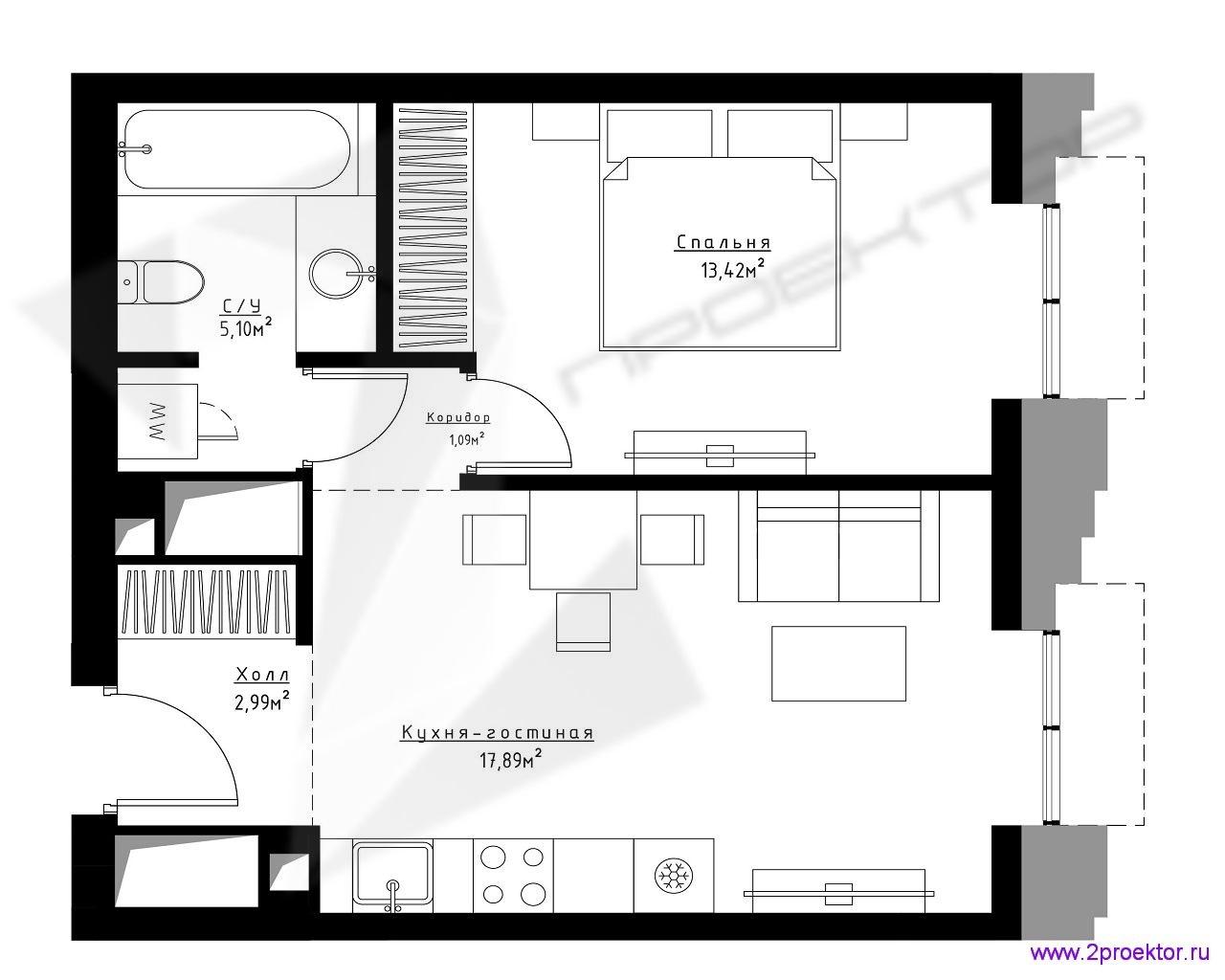 Типовой вариант планировки двухкомнатной квартиры в Жилом комплексе Метрополия.