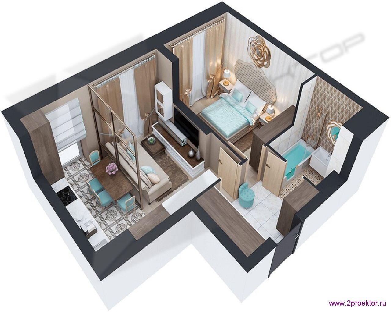Типовой вариант планировки в восточном стиле двухкомнатной квартиры в Жилом комплексе Невский.