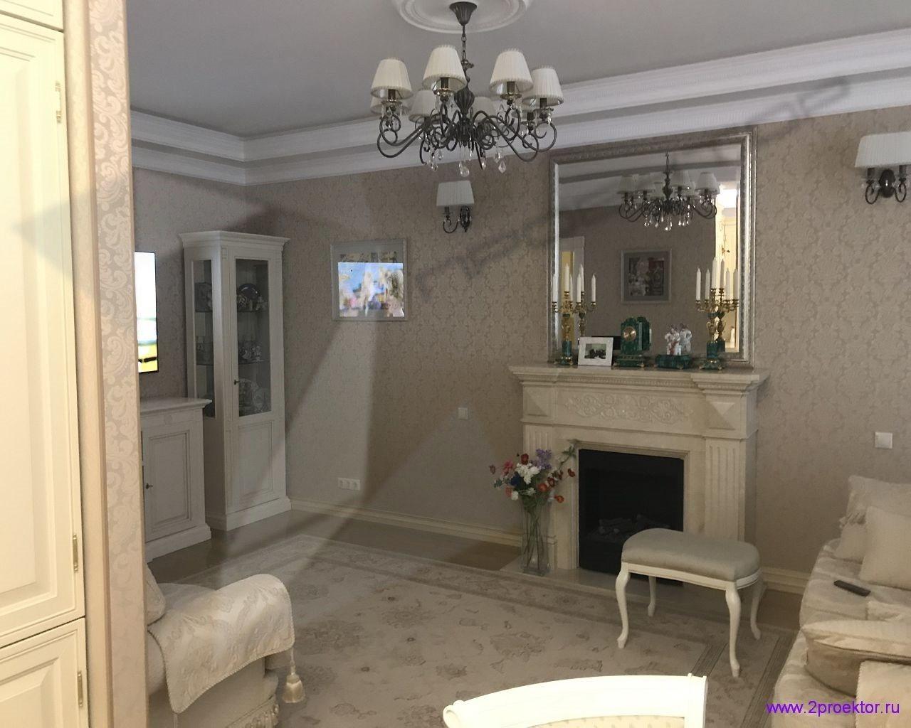 Согласованный вариант перепланировки квартиры с устройством камина.