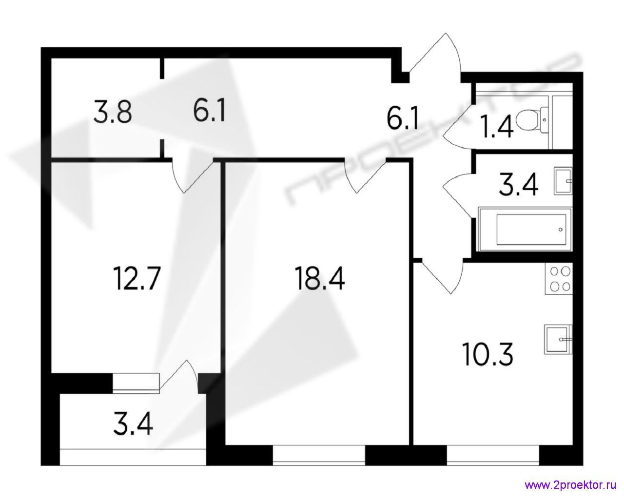 Типовой вариант планировки двухкомнатной квартиры площадью 42,9 кв.м в Жилом комплексе Лесопарковый.