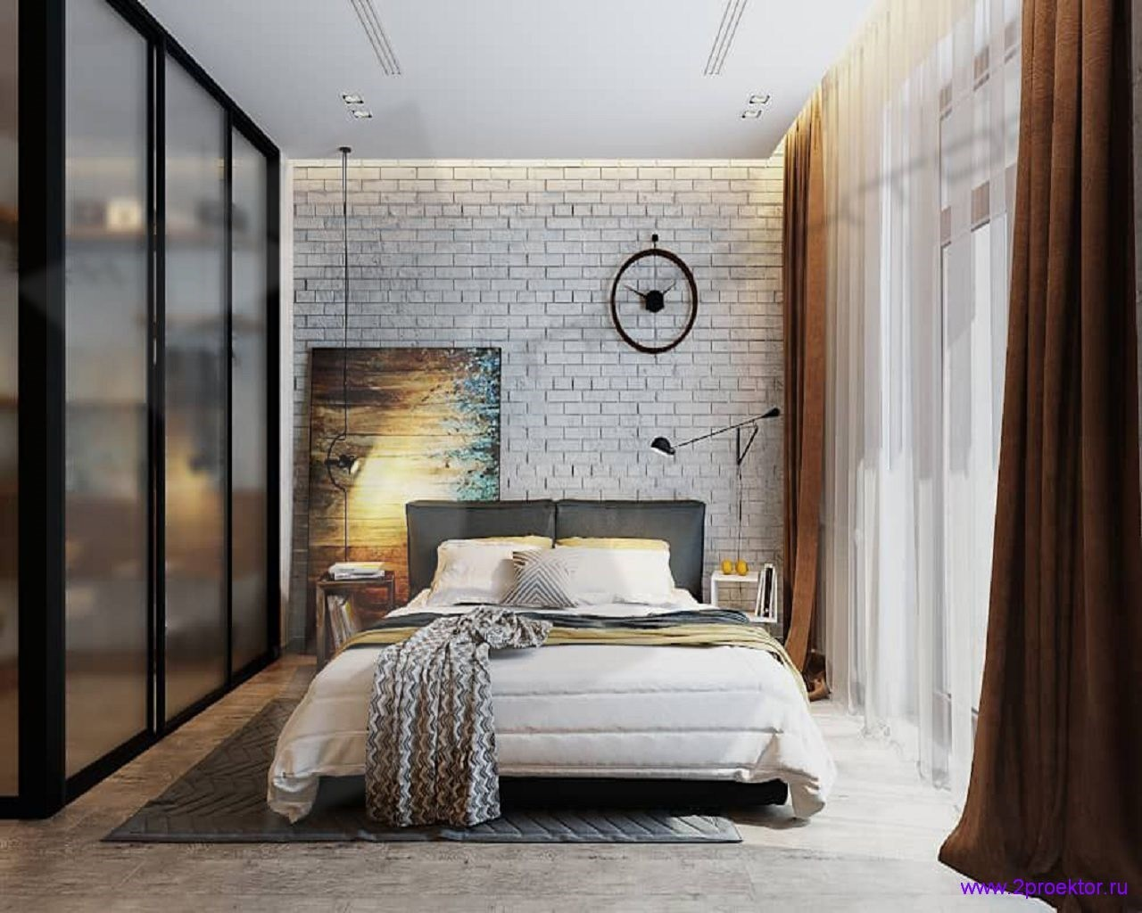 Дизайн спальни в стиле лофт в Жилом комплексе Лесопарковый.