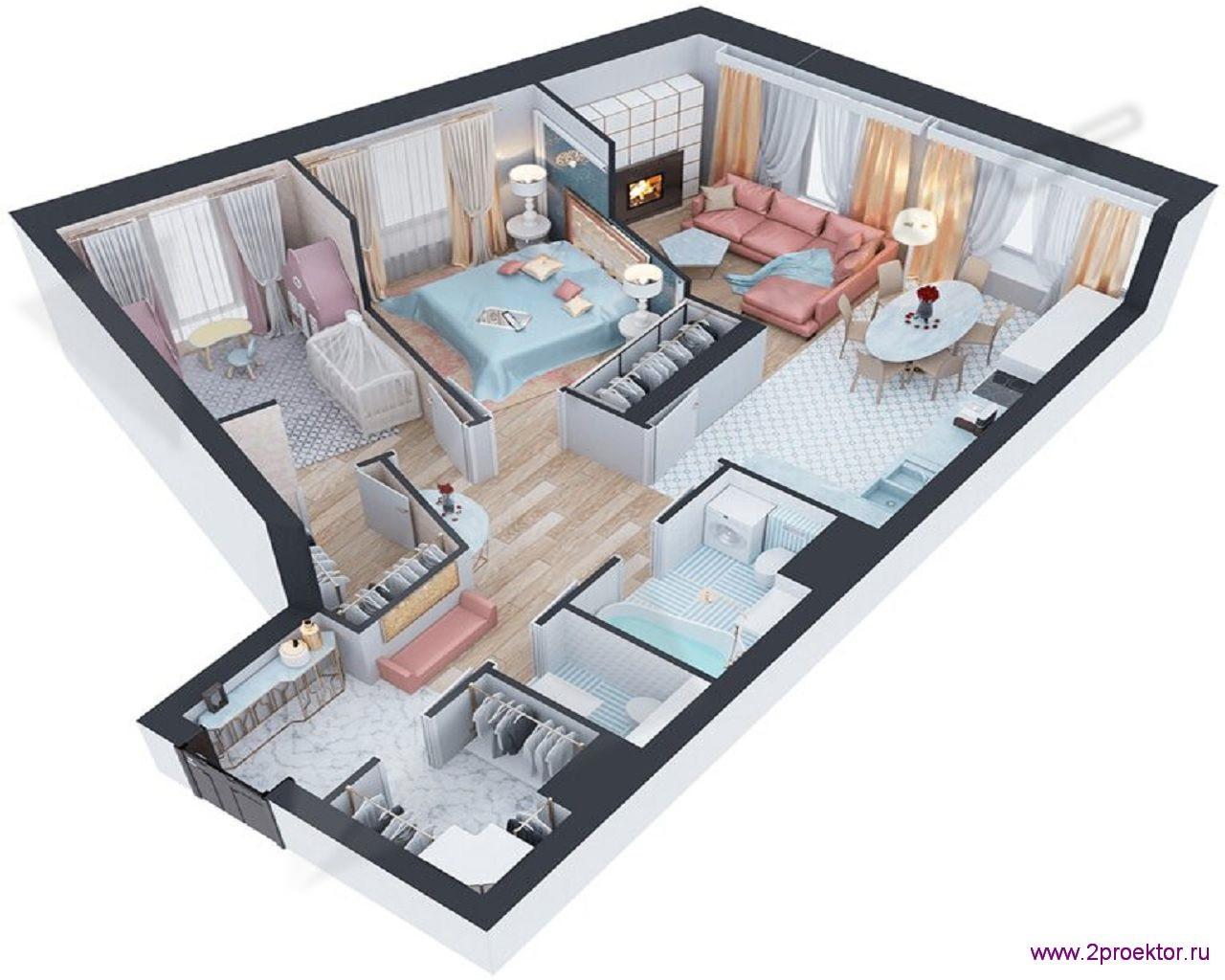 Типовой вариант планировки в спокойных тонах трехкомнатной квартиры в Жилом комплексе Невский.