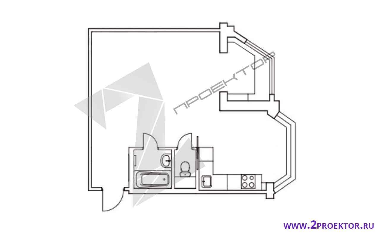 Проект перепланировки квартиры однушки в евродвушку