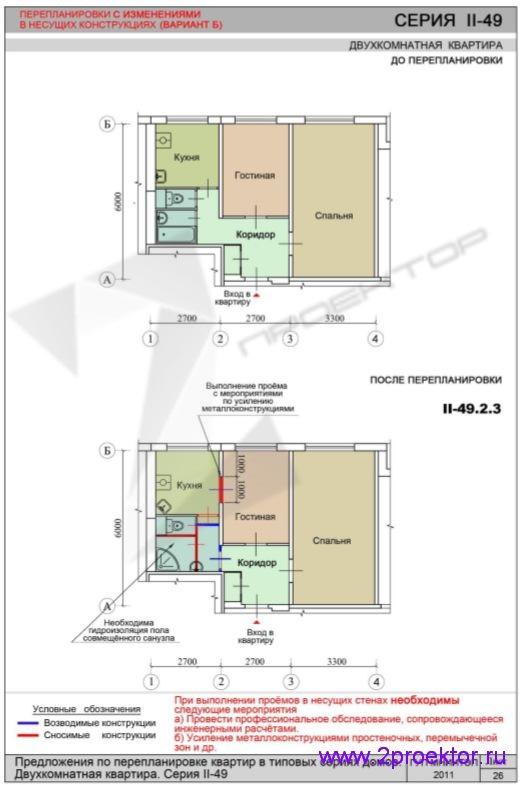 Перепланировка с изменениями в несущих конструкциях дома серии II-49