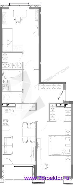 Типовая двухкомнатная квартира в ЖК «Ясный»