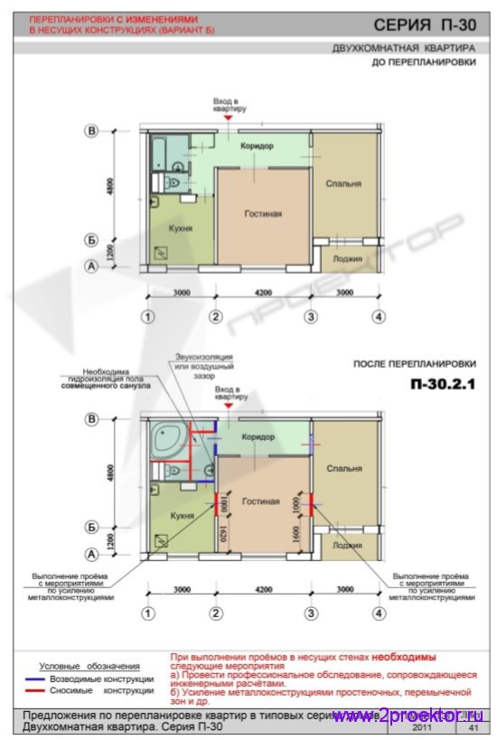 Перепланировка с изменениями в несущих конструкциях 2-х комнатной квартиры