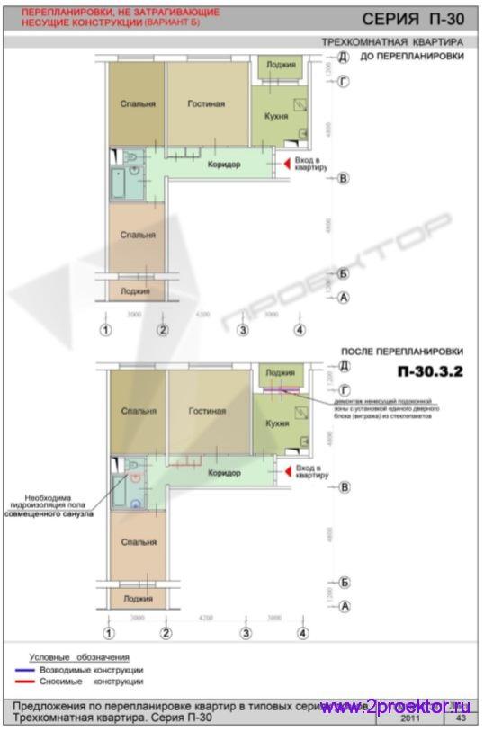 Перепланировка без изменений в несущих конструкциях 3-х комнатной квартиры (вар. 2)