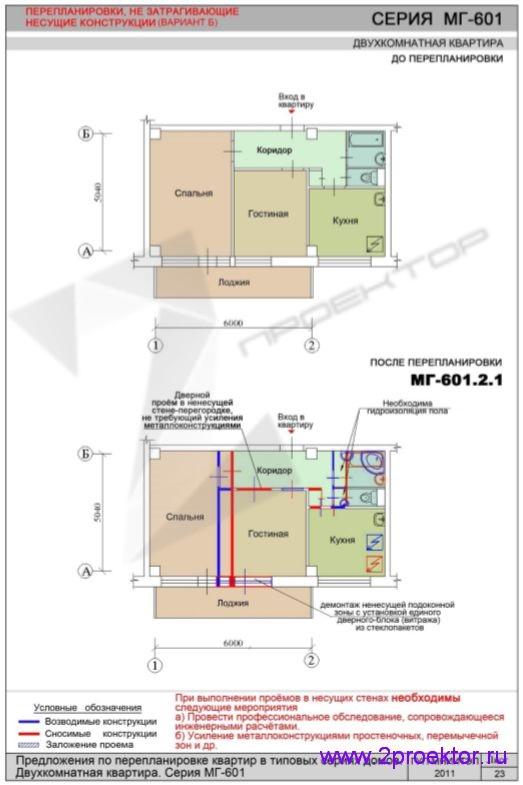 Перепланировка без изменений в несущих конструкциях в доме серии МГ-601
