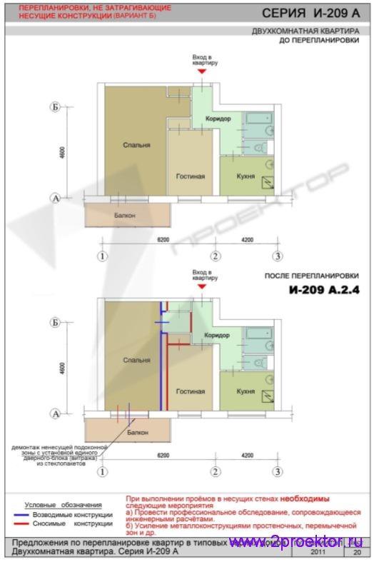 Перепланировка без изменений в несущих конструкциях (И-209А.2.4)