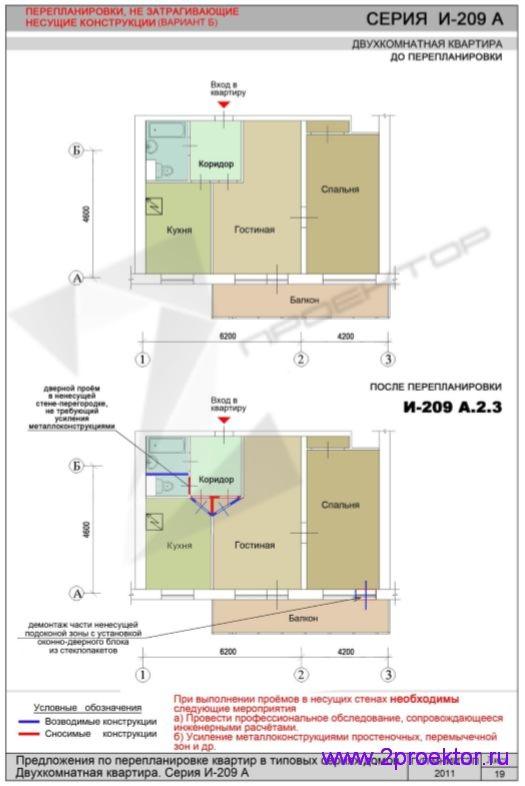 Перепланировка без изменений в несущих конструкциях (И-209А.2.3)