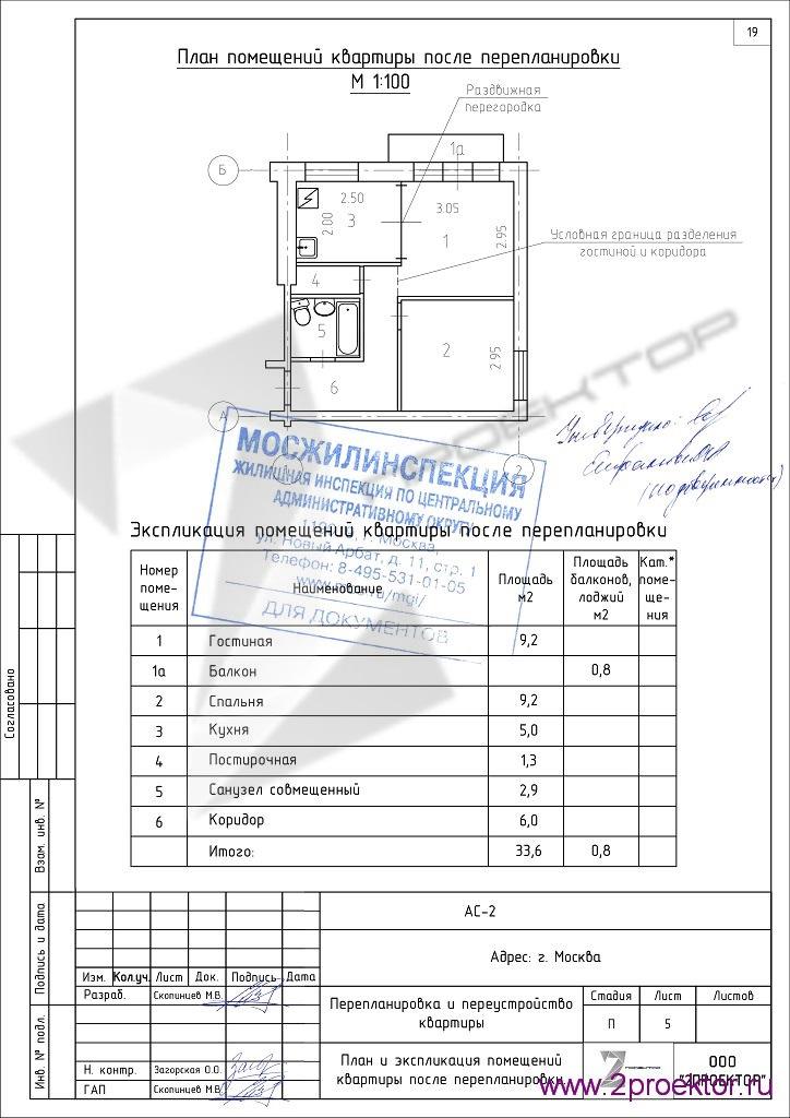 План однокомнатной хрущевки с согласованием Мосжилинспекции 1