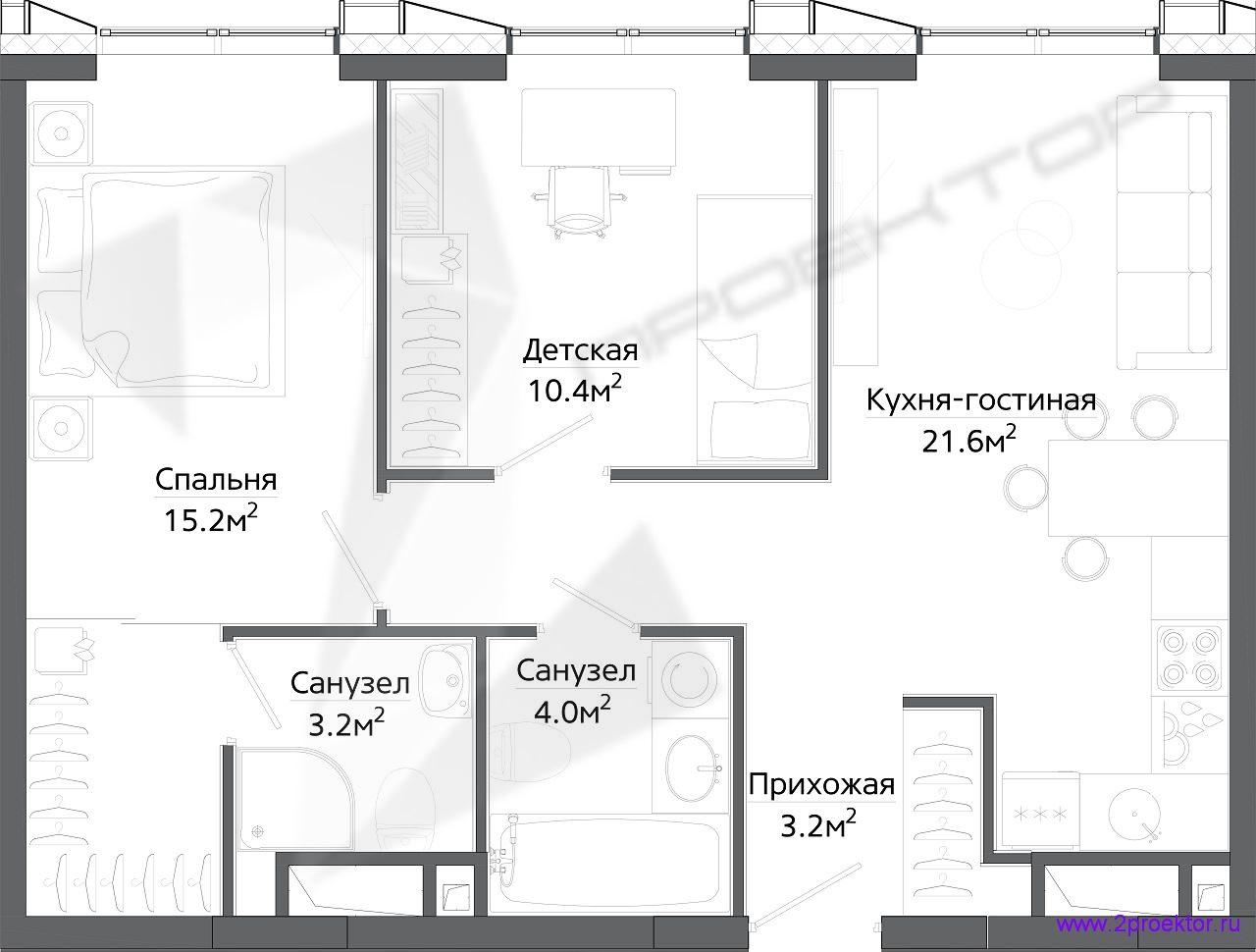 Типовой вариант планировки двухкомнатной квартиры в Жилом комплексе Discovery Park.