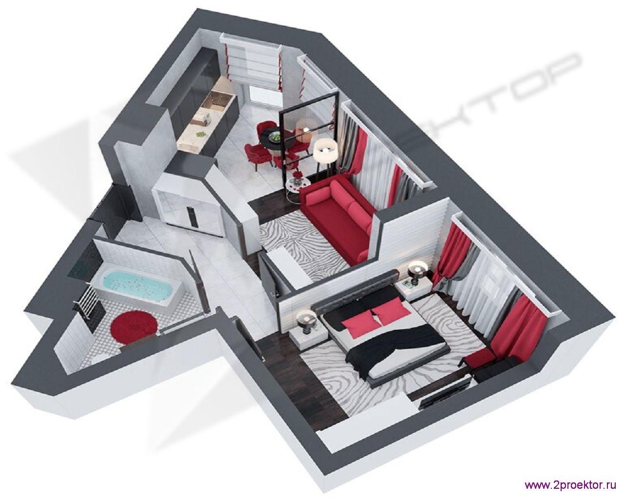 Типовой вариант планировки в ярком стиле двухкомнатной квартиры в Жилом комплексе Невский.
