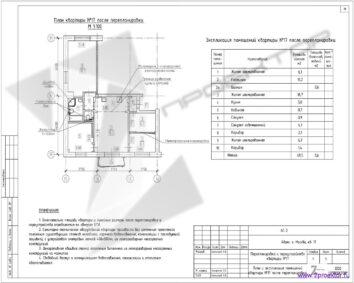 Вариант перепланировки разработанный и согласованный специалистами ООО «2ПРОЕКТОР» по отключению газовой плиты и перенос кухни в коридор с электро плитой. План после перепланировки.